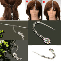 Wholesale Dangling Hair Accessories - 3pcs lot Dangle Tassel Flower Peacock Crystal Rhinestone Hair Pin Clip Party Accessory Free Ship [JH02037*3]