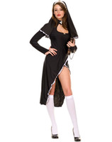 Wholesale Boo Costume - Cosplay Sexy Costumes For Women Sexy Nun Adult Womens Costume Maid Black Dress Veil Peek-a-boo Neckline H39229