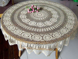 Wholesale Handmade Crocheted Tablecloths - 63 Inch (160CM ) Round Beige Vintage Handmade Crocheted Tablecloths
