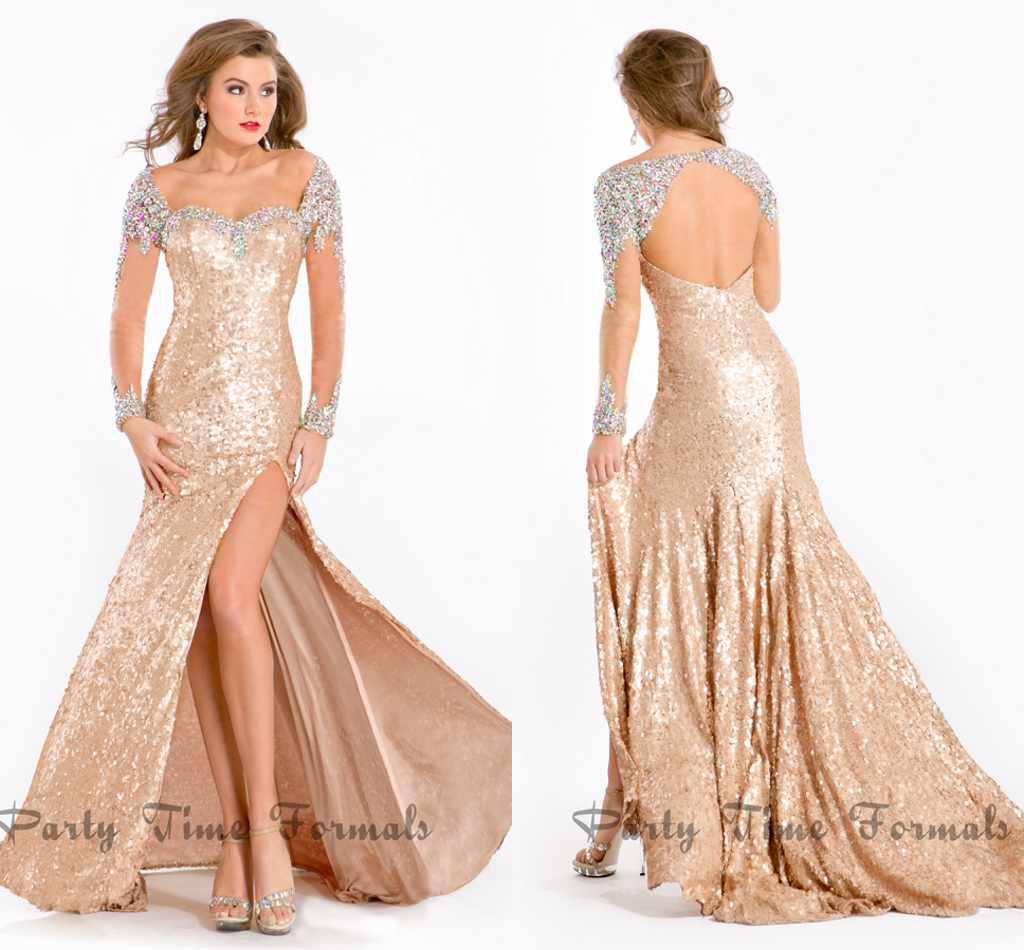 Glamorous Sheath Long Sleeves Pageant Dresses Sequin Dazzling ...