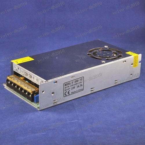 LLFA2530 AC110V/220V to DC12V 16.7A 200W metal casing Transformer Aluminum Led Power Supply, AC /DC Power Adapter For Led Light
