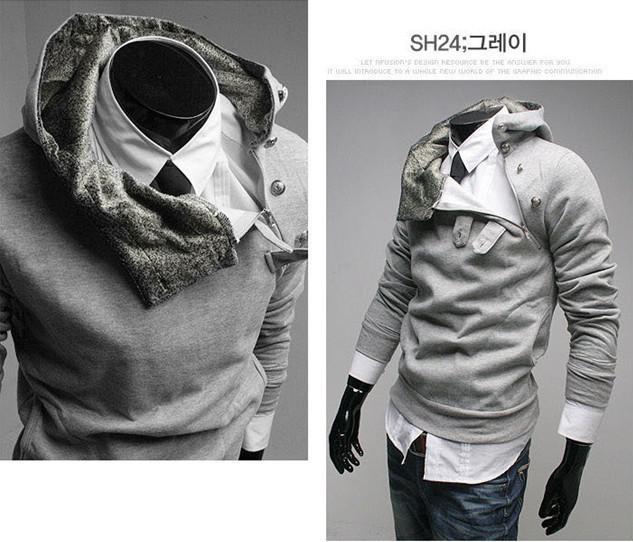 2017 neue winter hoodies mode männer hoodies sweatshirts britischen stil hoody strickjacke kaninchenfell mit kapuze fleece geneigten reißverschluss outwear m3