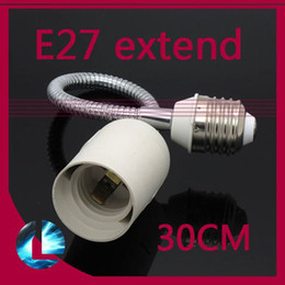 Wholesale Halogen Lamp E27 Adapter - LED Halogen CFL Light Bulb Lamp Socket E27 to E27 Flexible Extend 30cm Extension Adapter Converter