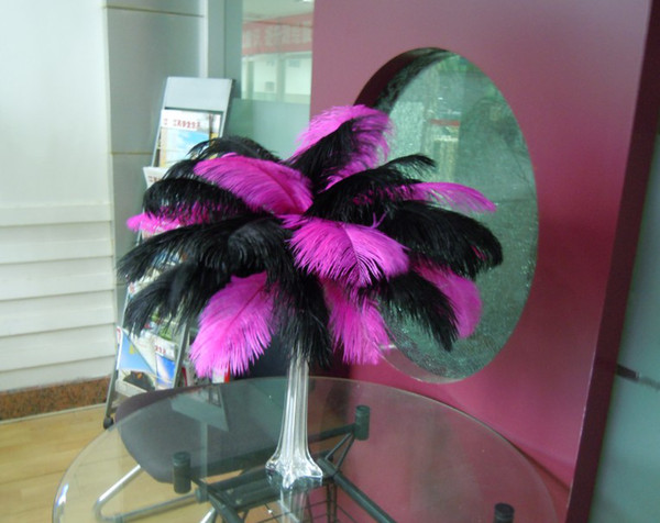 wholesale 100pcs/lot black and fushia Ostrich Feathers ostrich plumes for wedding centerpiece wedding party decor