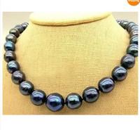 "Wholesale Strands Tahitian Black Pearls - Best Buy Pearls Jewelry REAL REAL AAA+ TAHITIAN BLACK 11-12MM PEARL NECKLACE 18""14K"