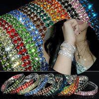 Wholesale Bracelet Tennis Multicolor - 12Pcs lot Bracelet Jewelry Shiny Bling Multicolor Crystal Women's Elastic Bracelet Bangle Women Jewelry Free [B414M*12]