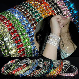 Wholesale Elastic Crystal Ring - 12Pcs lot Bracelet Jewelry Shiny Bling Multicolor Crystal Women's Elastic Bracelet Bangle Women Jewelry Free [B414M*12]