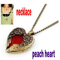 Wholesale Wholesale Ruby Pendant - Retail 1pcs Retro style peach heart necklace ruby angel wings pendant long necklace new arrival free shipping