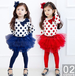 Wholesale Dot Blue Baby Girl Dress - Wholesale - Lovely girl's 2 piece suits Polka Dot shirt+TUTU pants children's christmas gifts baby dress sets