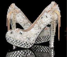 Rhinestone tassels stiletto pumps online shopping - Bow Tassel Rhinestone Wedding Shoes Gorgeous Crystal Heel Bride Shoes Platform Women Formal Dress Shoes Handmade Prom Event Pumps