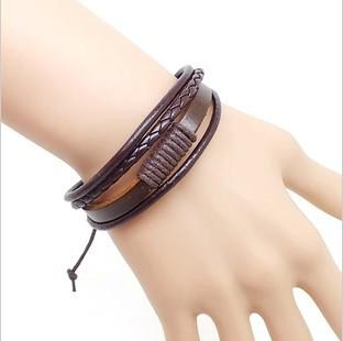 Xmas gift Vintage punk Multilayer Braid genuine Leather hemp Bracelet lovers Adjustable Fashion Multicolor