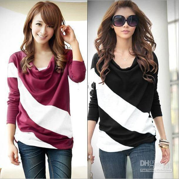 Best Women Hoodies Loose Sleeve T Shirt Stitching Striped Girl ...