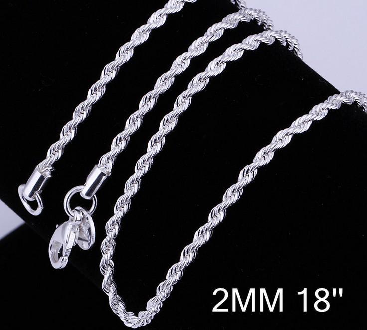 Großhandel - Mode Schmuck 925 Sterling Silber 2mm Twist Seil Halskette 16inch / 18inch / 20inch / 22inch / 24inch