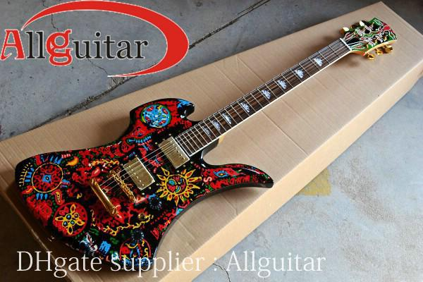 brand new arrival guitar flowers oil painting polychrome body china guitar polychrome guitar new. Black Bedroom Furniture Sets. Home Design Ideas