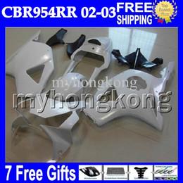 Wholesale Honda Cbr 954 Rr - 7gifts For HONDA 02-03 CBR954RR 02 03 CBR900RR ALL White 954 954RR MH6747 CBR 900RR CBR954 RR 2002 2003 Free Customized Glossy white Fairing