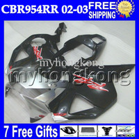 Wholesale Honda 954 Fairing Red - 7gifts Free Customized For HONDA CBR954RR 02 03 CBR900RR Black red silvery MH6715 CBR 954 954RR CBR954 RR 2002 2003 CBR900 900RR hot Fairing