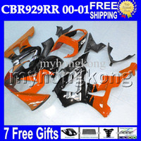 Barato Orange Cbr 929-7gifts + Free Customized para HONDA CBR929RR Orange black 2000 2001 CBR900RR CBR929 RR MH6585 CBR 929 RR Gloss Orange 929RR 00 01 Kits de carenagem