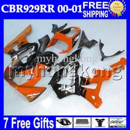 Wholesale Cbr929rr Fairing Kit - 7gifts+Free Customized For HONDA CBR929RR Orange black 2000 2001 CBR900RR CBR929 RR MH6585 CBR 929 RR Gloss Orange 929RR 00 01 Fairings Kits