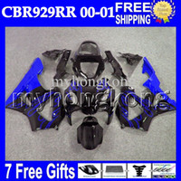 Wholesale honda 929rr - Blue 7gifts For HONDA CBR900RR CBR929RR 2000 2001 MH6574 Blue flames black Free Customized CBR929 RR CBR 929 900RR 929RR 00 01 Body Fairing