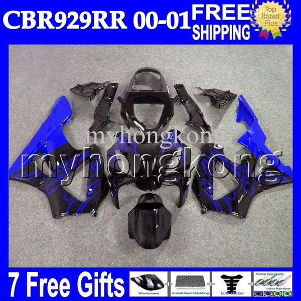 Azul 7gifts para HONDA CBR900RR CBR929RR 2000 2001 MH6574 Azul llamas negro Personalizado personalizado CBR929 RR CBR 929 900RR 929RR 00 01 Cuerpo carenado