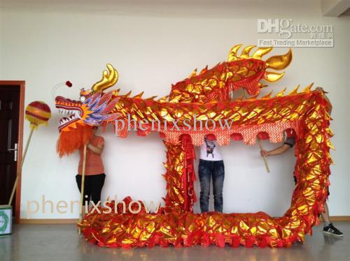 D 7.9 m size 6 # 8 kid red golden plated CHINESE DRAGON DANCE Folk Festival Celebration Costume