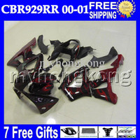 Wholesale Honda Cbr929rr Fairing Red Injection - 7gifts Red flames black For HONDA 00 01 CBR929RR CBR 929 929RR 900RR MH6522 black CBR900RR CBR929 RR 2000 2001 Free Customized Fairing Kit