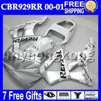 Wholesale Honda Cbr929rr Repsol Fairing - 7gifts Free CustomizedFor HONDA CBR929RR 00 01 NEW silvery CBR 929 929RR MH6516 900RR Repsol White CBR900RR CBR929 RR 2000 2001 Fairing Body