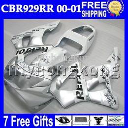 Wholesale Honda 929rr - 7gifts Free CustomizedFor HONDA CBR929RR 00 01 NEW silvery CBR 929 929RR MH6516 900RR Repsol White CBR900RR CBR929 RR 2000 2001 Fairing Body