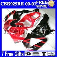 Wholesale Honda Cbr 929 Fairings Red - 7gifts Free Customized For HONDA CBR929RR Red black 00 01 CBR 929 929RR MH6515 900RR CBR900RR CBR929 RR 2000 2001 HOT Gloss red Fairing Body