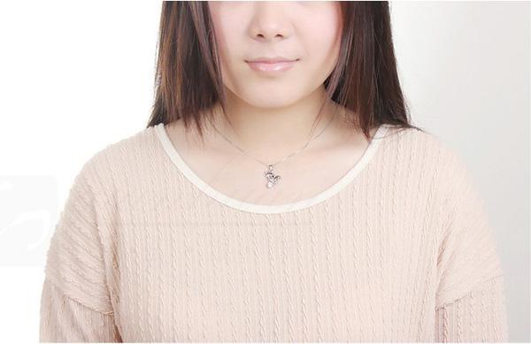 925 Sterling Silver Halsband Kärlek Cubic Zircon Animal Pendant Bohemian Fashion Korean Bröllop Halsband för kvinnor