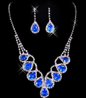 Wholesale Crystal Rhinestone Choker Necklace Earring - Fashion Charms Statement Necklace Earring Sets Blue Red Crystal Jewelry Set Rhinestone Dress Chokers