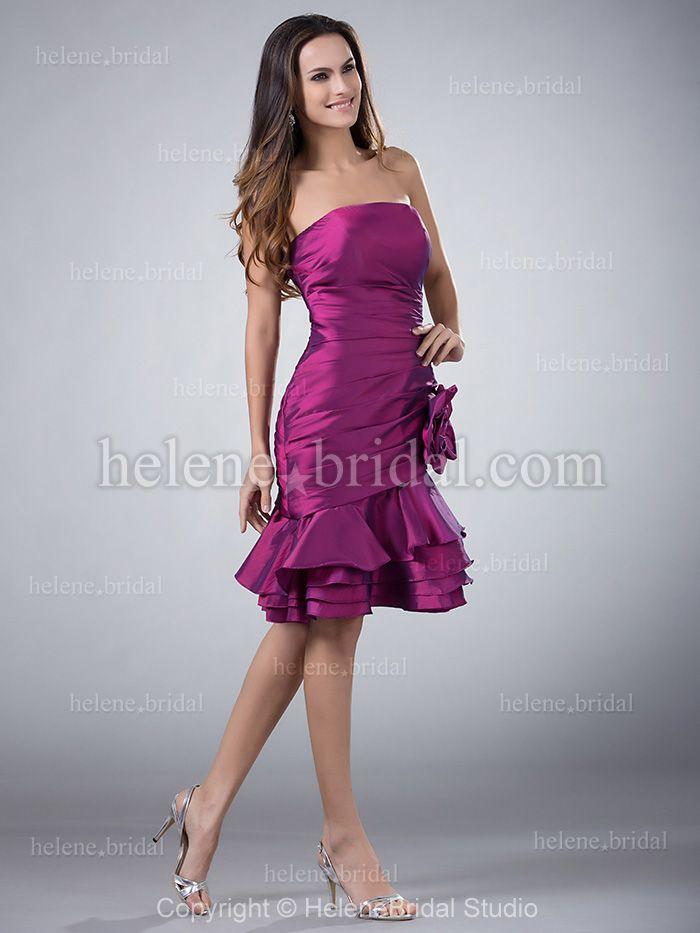 Mermaid / Trumpet Strapless Short / Mini Taffeta Bridesmaid Dress ...