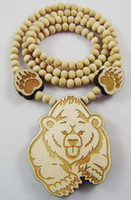 Wholesale Wood Bear Pendant - Polar Bear Good Wood Hip-Hop Wooden Necklace 3 Colors Mixed Fashion Wholesale