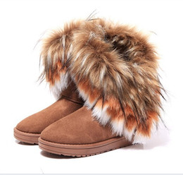 Wholesale Tassel Ankle Boots For Women - Cheap price women's snow boots black+brown+green super warm winter boots for women tassel short boots High quality