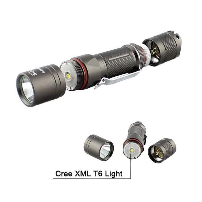 Cree LED Flashlight Supfire -A6 T6 800 Lumens 1*18650 Battery Aluminium Alloy Water Resistant Camping Outdoor Flashlight Torch