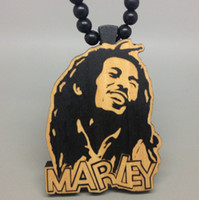 Wholesale Wholesale Bob Marley Necklaces - Bob Marley Good Wood Hip Hop Jewelry Wooden 3 Colors Necklace