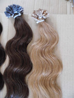 Wholesale Dark Auburn Wavy Hair Extensions - MIRACLE HIGHT QUALITY 1g s 100g pack wavy Italian keratin U tip nail REMY hair extensions STOCK