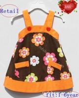 Wholesale Love Harness - HOT 2016 new Children girl Fashion Love flower shoulder harness one-piece Dress free ship