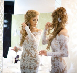 Wholesale nude long sleeves cocktail dresses - Custom made 2018 Off the Shoulder White Lace With Nude beauty Short Cocktail Dresses with Long sleeve Prom dresses for party