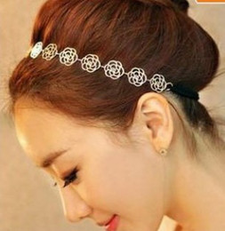 Wholesale Band Elastic Flower Ladies - 12X NEW Fashion Lovely Metallic Lady Hollow Rose Flower Elastic Hair Band Headband 3 Colors Mix [JH01035*12]
