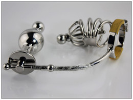 Wholesale Steel Anal Bondage - 1pc xsextoy Male Stainless Steel Anal plug Bondage Chastity cage Device with Adjustable Anal plug Butt beads BDSM fetish a046