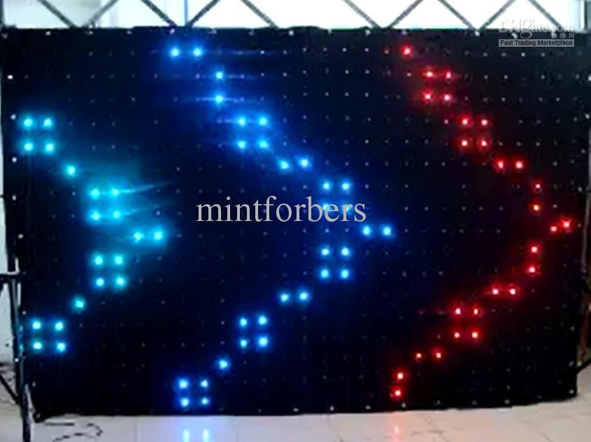 DJ LED video Curtain LED Vision Curtain 3x2 meters RGB SMD 5050 LED Lamp Cloth with SD Controller