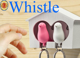 Wholesale Sparrow House Key Chain Ring - Wholesale - New Hot Bird Nest Sparrow House Key Chain Ring Chain Wall Hook Holders Plastic Whistle