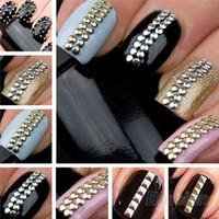 Wholesale Nail Decoration Designer - 2014 Brand New Designer 1000pcs 3D Design Nail Art Decoration Stickers Tip Metallic Studs spike Gold & Silver stud Free Shipping