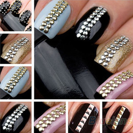 Wholesale Silver Gold Stickers - 2014 Brand New Designer 1000pcs 3D Design Nail Art Decoration Stickers Tip Metallic Studs spike Gold & Silver stud Free Shipping