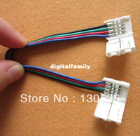 Wholesale Strip Pins - 10pcs lot Led strip connector 5050 RGB connector with wire 12V 4 pin connector so convenient free shipping