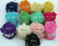 Wholesale Blue Millinery Flowers - 1 Bunch 2000pcs Double Side Head Millinery Flower Stamens Cake Floral Craft