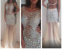 Wholesale Rhinestone Pick Up - Best selling 2014 Sexy inspired rhinestone beaded tulle champagne Prom Dresses full length Evening dresses