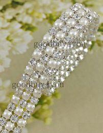 Wholesale Deco Tables - P3 1 Yard 3Rows Diamond A Rhinestone and Pearl Wedding Cake Banding Trim Ribbon Deco