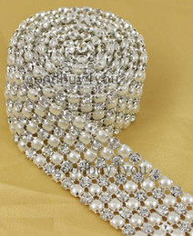 Wholesale Rhinestones Trimming - P6 1 Yard 6 Rows Diamond A Rhinestone and Pearl Wedding Cake Banding Trim Ribbon Deco